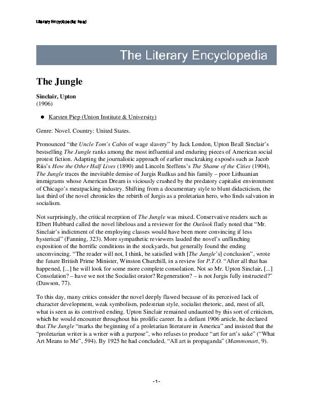 Essay the jungle upton sinclair essay on modern dance