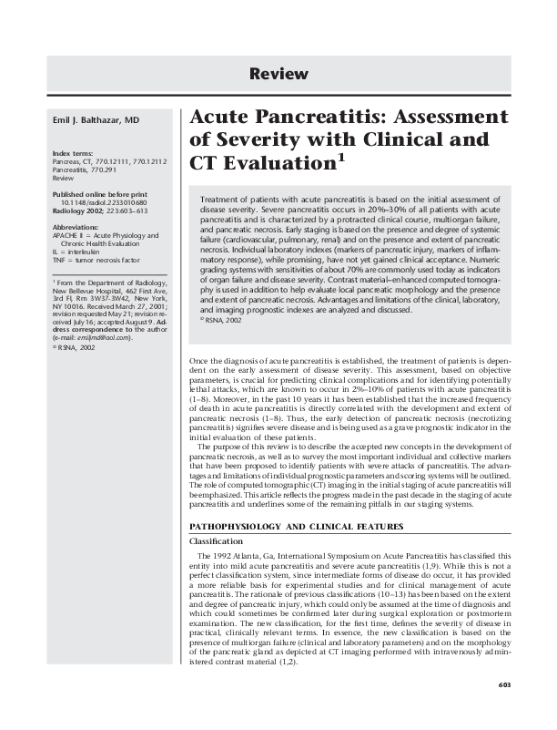 PDF) Acute Pancreatitis: Assessment of Severity with