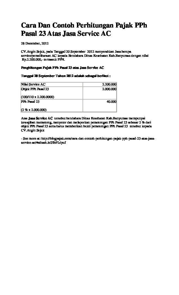 Doc Cara Dan Contoh Perhitungan Pajak Pph Pasal 23 Atas