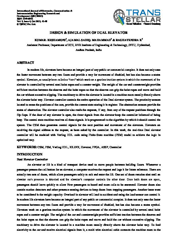 PDF) Design & Simulation of Dual Elevator | TJPRC