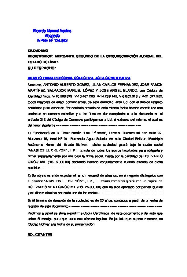 Pdf Abasto Firma Personal Colectiva Modelo De Acta Constitutiva Omar De Jesus Aquino Academia Edu