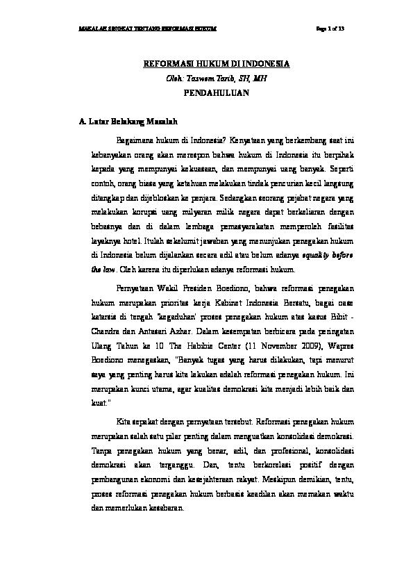 Pdf Makalah Singkat Tentang Reformasi Hukum Page 1 Of 13 Reformasi Hukum Di Indonesia Oleh Taswem Tarib Sh Mh Pendahuluan A Latar Belakang Masalah Herman Manalu Academia Edu