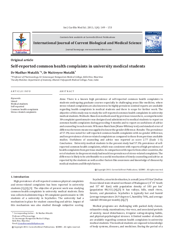 PDF) Self reported common health complaints in university