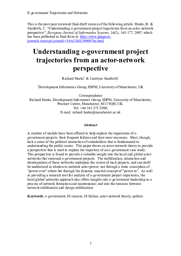PDF) Understanding e-Government project trajectories from an