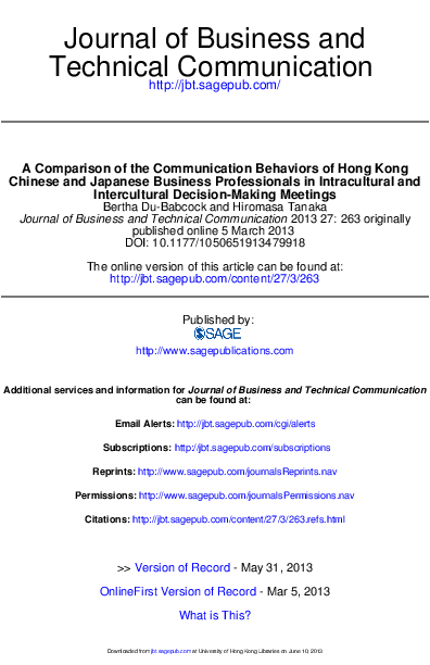 Pdf A Comparison Of The Communication Behaviors Of Hong Kong Chinese And Japanese Business Professionals In Intracultural And Intercultural Decision Making Meetings Bertha Du Babcock Academia Edu