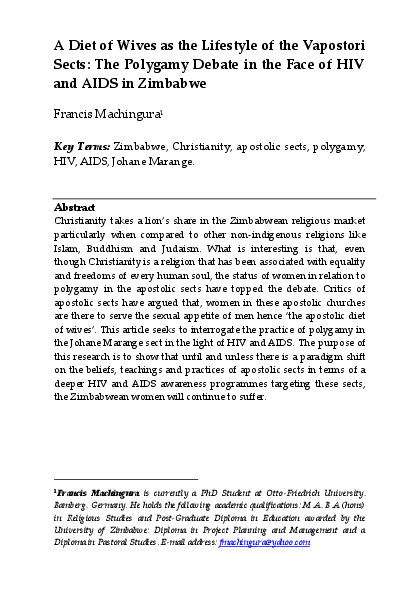 PDF) A Diet of Wives as the Lifestyle of the Vapostori Sects: The