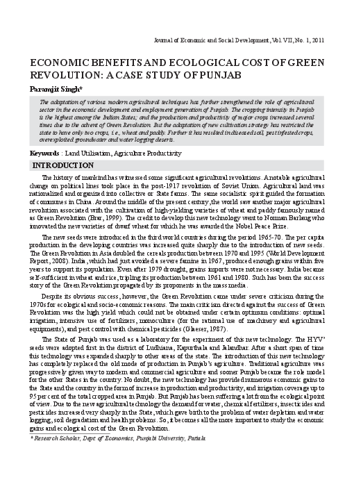 PDF) Economic Benefits and Ecological Cost of Green Revolution