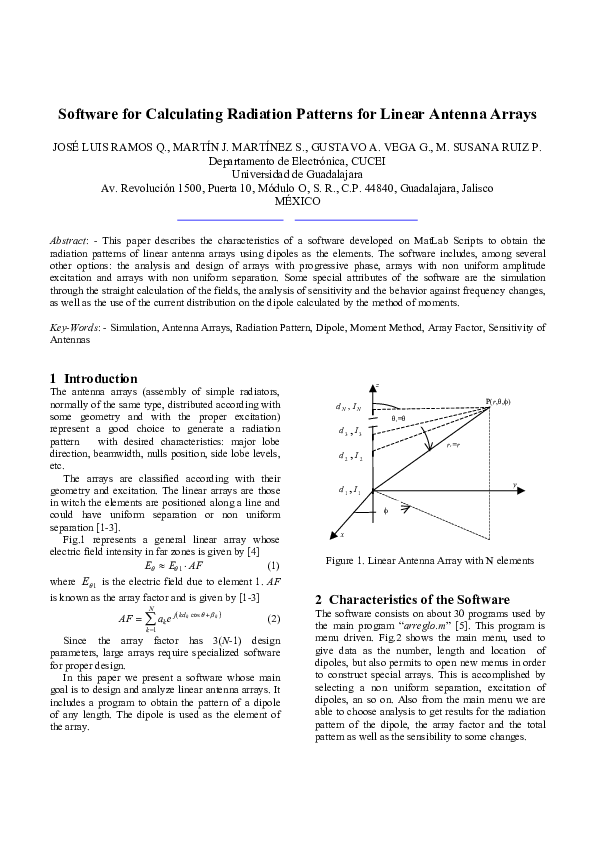 PDF) Software for Calculating Radiation Patterns for Linear