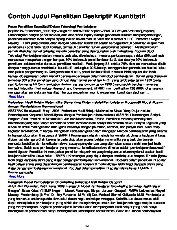 Pdf Contoh Judul Penelitian Deskriptif Kuantitatif Ana Rufisa