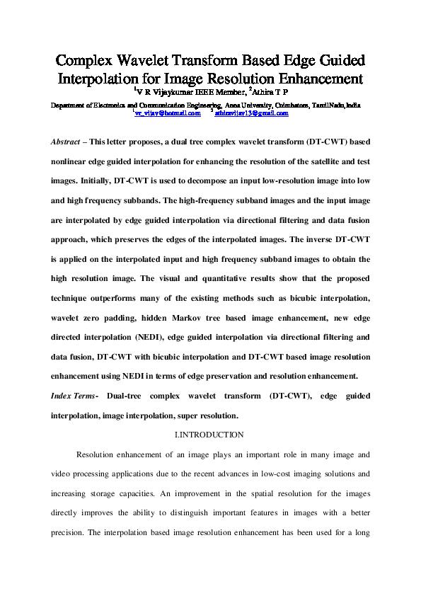 PDF) Complex Wavelet Transform Based Edge Guided