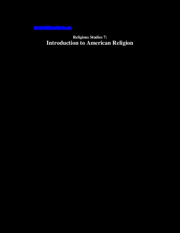 Pdf Introduction To American Religion Syllabus Kristy Slominski Academia Edu