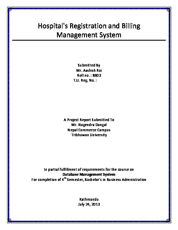 DOC) Hospital's Registration and Billing Management System (DBMS