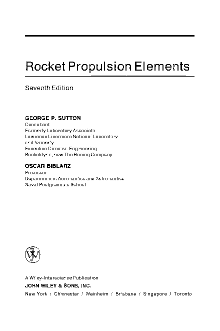 Pdf Rocket Propulsion Elements Seventh Edition Maria Christopher Academia Edu