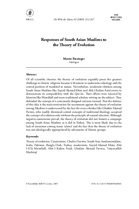 PDF) Responses of South Asian Muslims to the Theory of