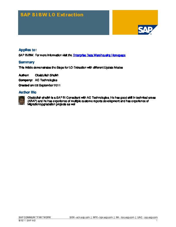 PDF) SAP BI BW extraction | Syed Nazim - Academia edu