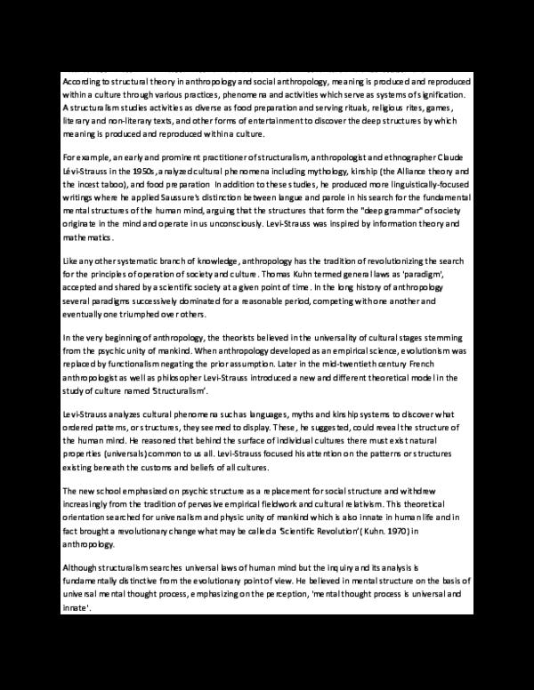 DOC) STRUCTURALISM AND LEVI | Chester Policarpio - Academia edu