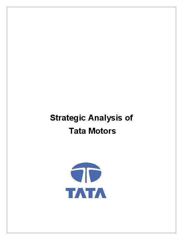 DOC) startegic analysis of tata motors | kumar gourav