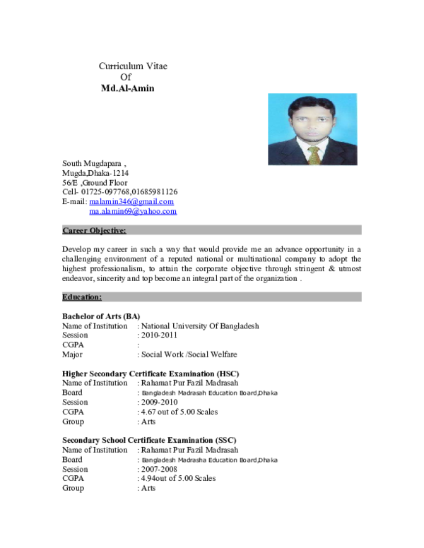 DOC) Curriculum Vitae Md Al Amin   Md  Al-Amin - Academia edu