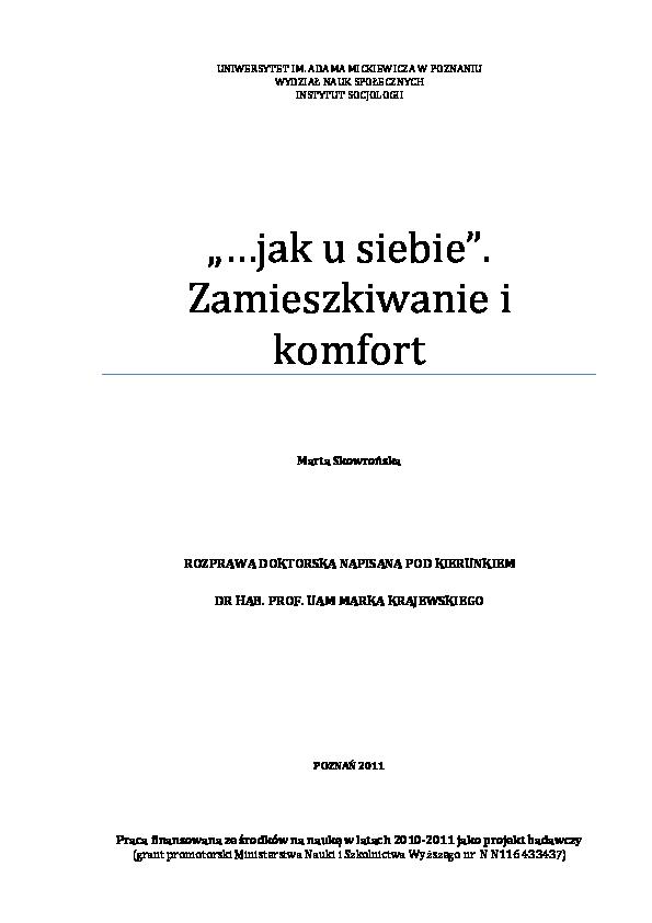 Pdf Jak U Siebie Zamieszkiwanie I Komfort Marta Skowronska