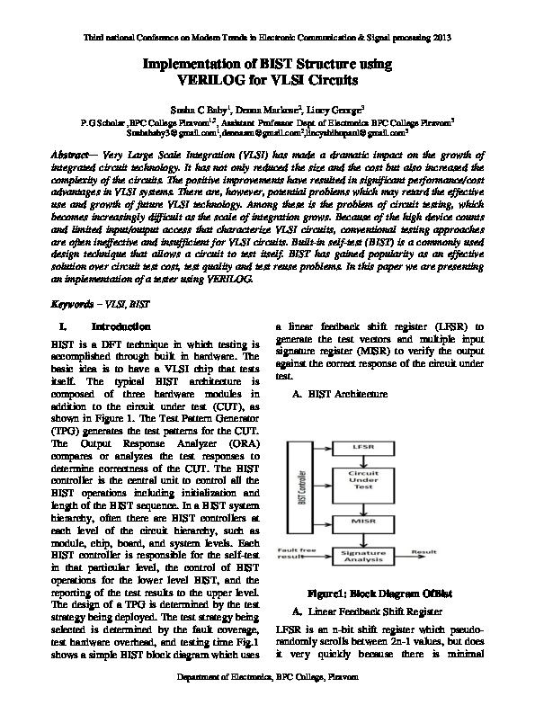 PDF) bist implementation using verilog basic ieda