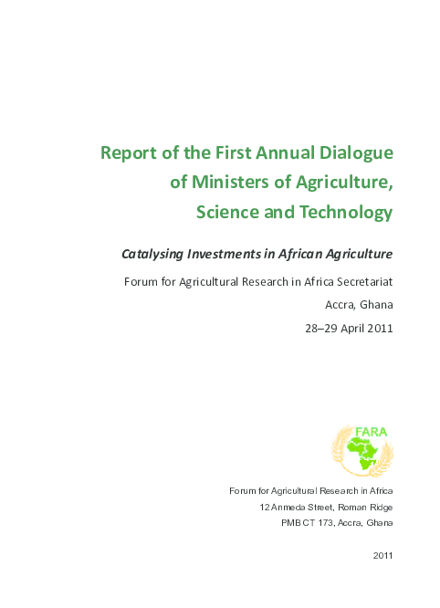PDF) Report of the First Annual Dialogue of Ministers of Agriculture