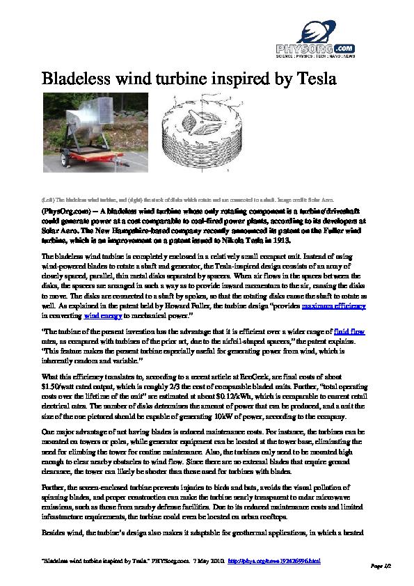 PDF) Bladeless wind turbine inspired by Tesla | prakhar srivastava
