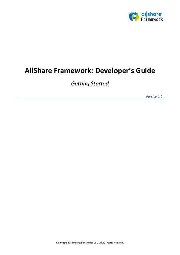 PDF) All Share Framework Developers Guide Getting Started v1