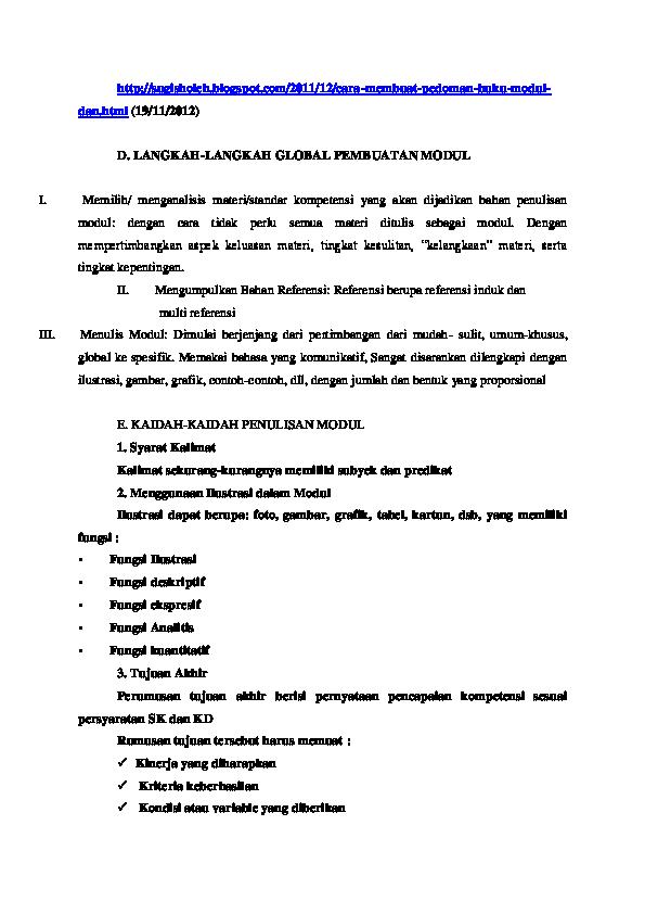 Doc Langkah Langkah Pembuatan Modul Harpaarihta Tarigan Academia Edu