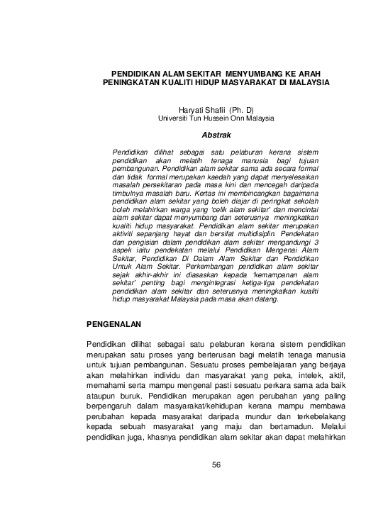 Pdf Pendidikan Alam Sekitar Menyumbang Ke Arah Peningkatan Kualiti Hidup Masyarakat Di Malaysiapembangunan Lestari Kemajuan Ekonomi Sosial Kebudayaan سيتي شزانا Academia Edu