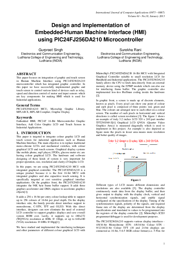 PDF) Design and Implementation of Embedded-Human Machine