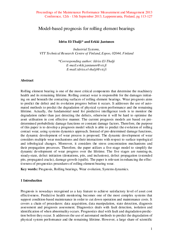 PDF) Model-based prognosis for rolling element bearings