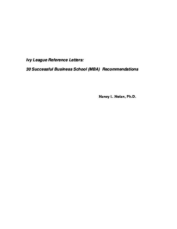 PDF Ivy League Reference Letters 30 Successful Business School MBA