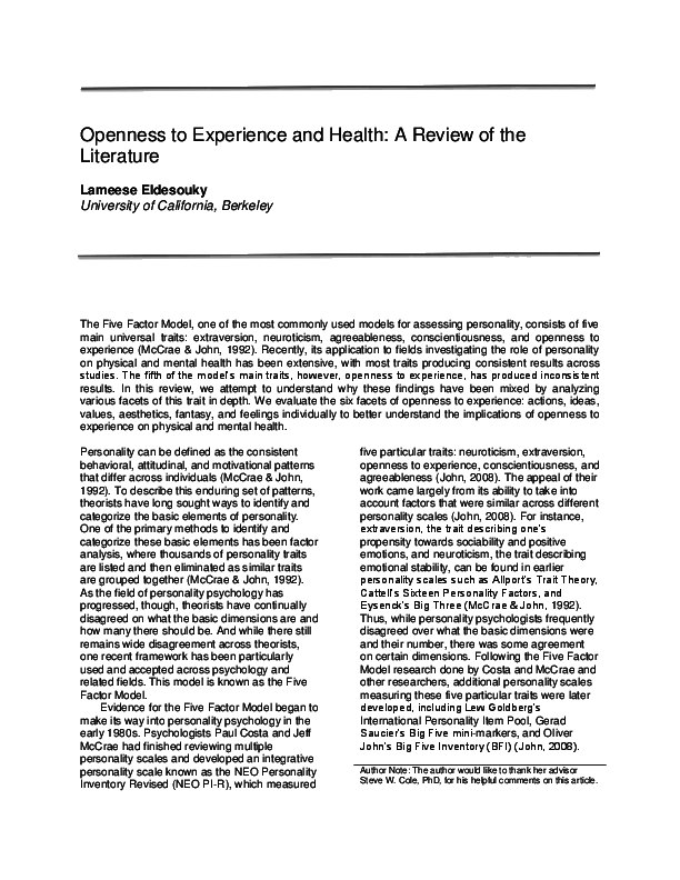 PDF) Openness to Experience and Health: A Review of the