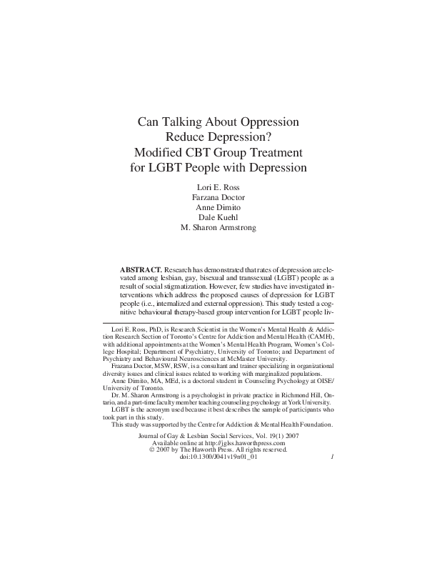 PDF) Can talking about oppression reduce depression
