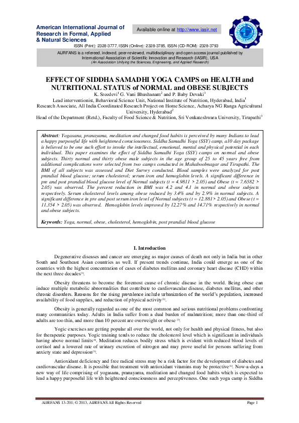 Pdf Effect Of Siddha Samadhi Yoga Camps On Health And Nutritional Status Of Normal And Obese Subjects Iasir Journals Academia Edu