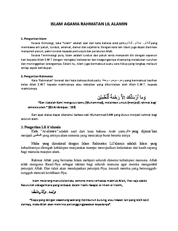 Apa Itu Pengertian Islam Rahmatan Lil Alamin