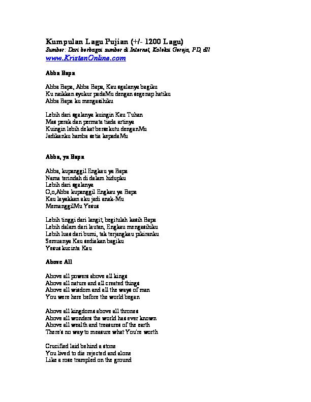Kumpulan Lagu Pujian Rinda Kinanti Academiaedu