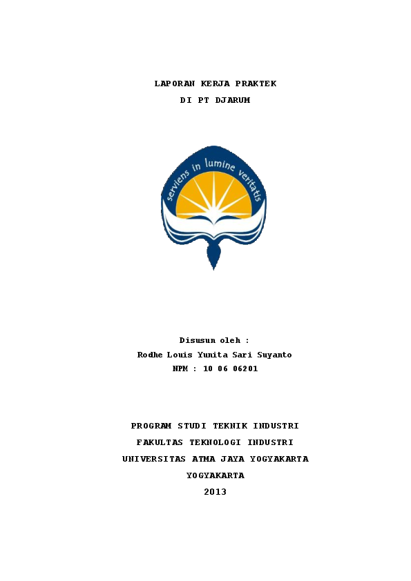 Pdf Laporan Kerja Praktek Di Pt Djarum Disusun Oleh Program Studi Teknik Industri Fakultas Teknologi Industri Universitas Atma Jaya Yogyakarta Yogyakarta 2013 Rodhe Louis Academia Edu
