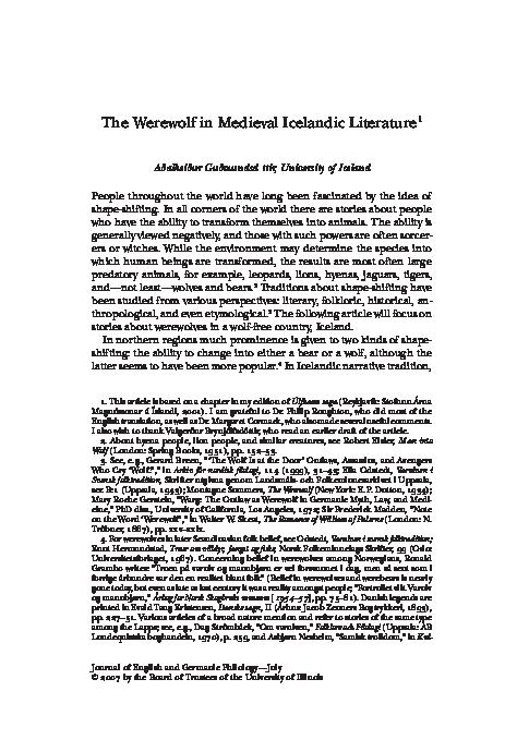PDF) The Werewolf in Medieval Icelandic Literature