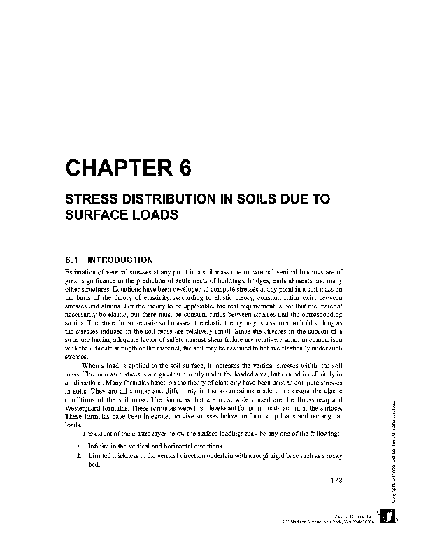 PDF) CHAPTER 6 STRESS DISTRIBUTION IN SOILS DUE TO SURFACE LOADS