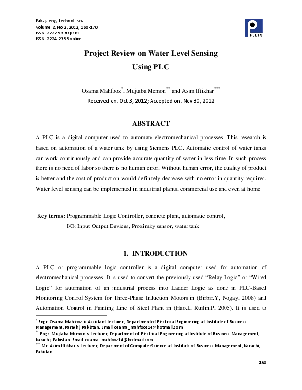PDF) Project Review on Water Level Sensing Using PLC | Arif Khan
