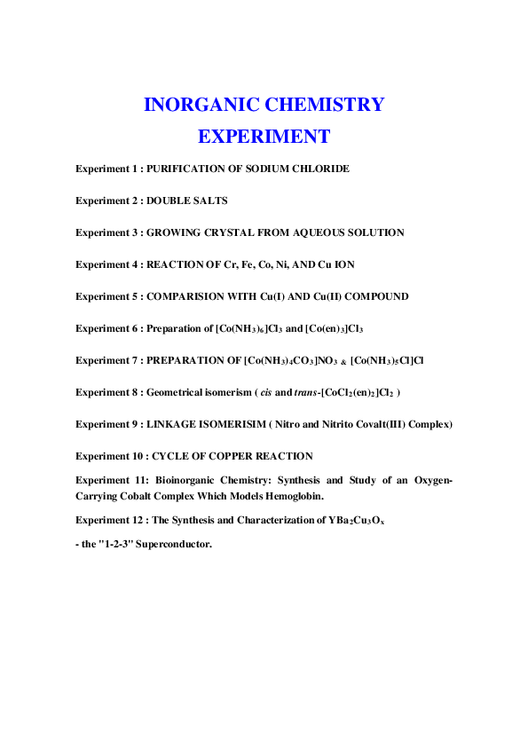 PDF) INORGANIC CHEMISTRY EXPERIMENTTION | Duho LEE - Academia edu