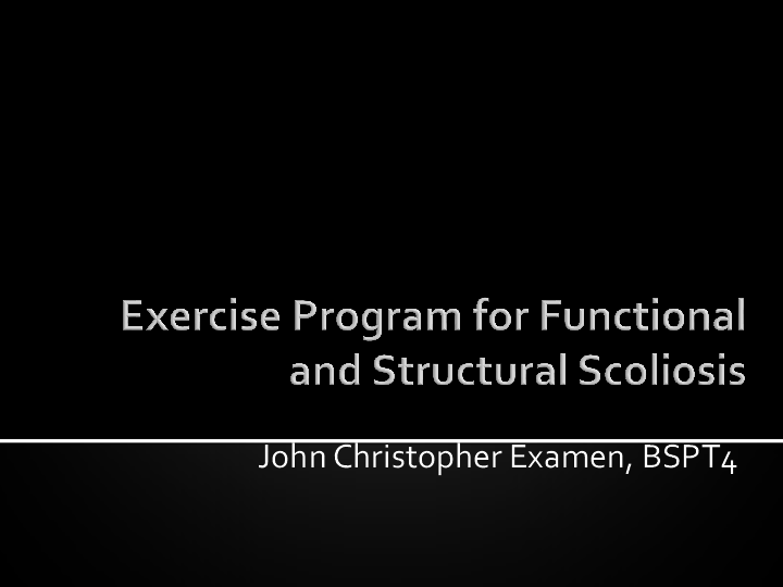 Ppt Exercise Program For Functional And Structural