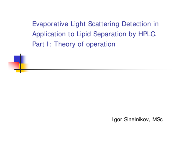 PDF) Evaporative Light Scattering Detection in Application