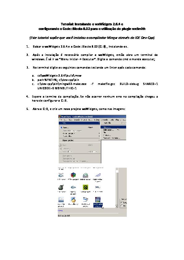 PDF) Code::Blocks and WxWidgets Tutorial | Vania V Estrela