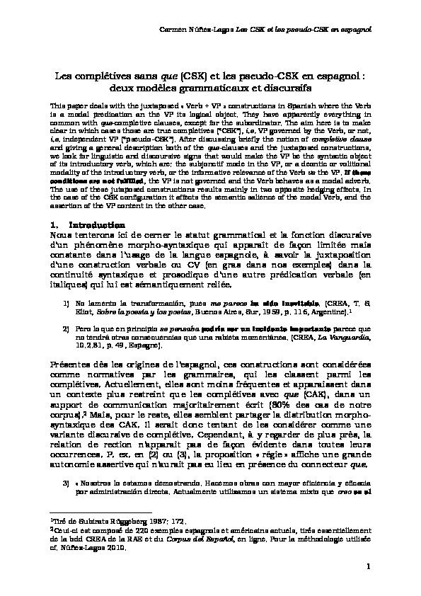 Les Completives Sans Que Et Les Pseudo Completives Sans Que En Espagnol Deux Modeles Grammaticaux Et Discursifs Carmen Nunez Lagos Academia Edu