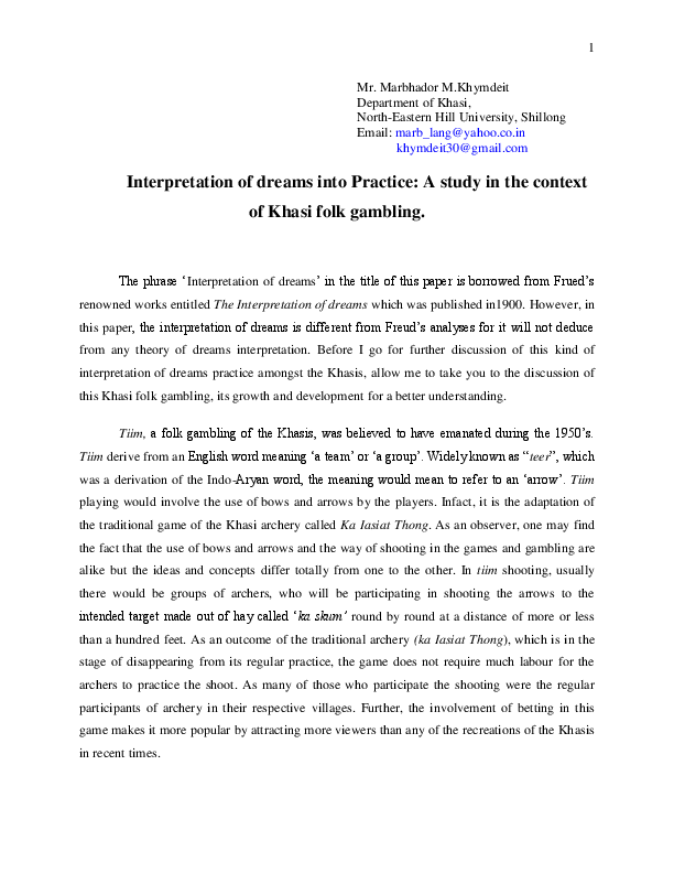 DOC) Interpretation of Dream in the Khasi Context