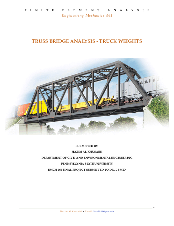 PDF) TRUSS BRIDGE ANALYSIS -TRUCK WEIGHTS SUBMITTED BY