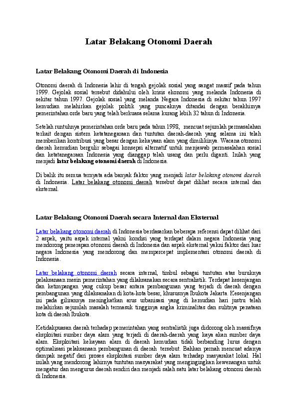 Doc Latar Belakang Otonomi Daerah Rasyidin William Academia Edu
