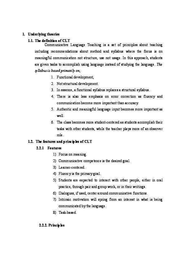DOC) Communicative Language Teaching: theories, lesson plan